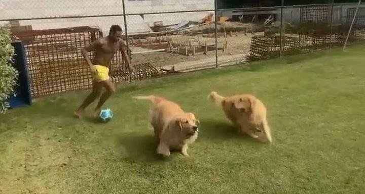 El divertido entrenamiento de Neymar con sus perros
