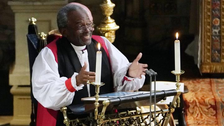 La emoción del reverendo Michael Bruce Curry en su sermón a los novios