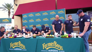 Las Vegas, Clark County fire departments face off in burger eating challenge