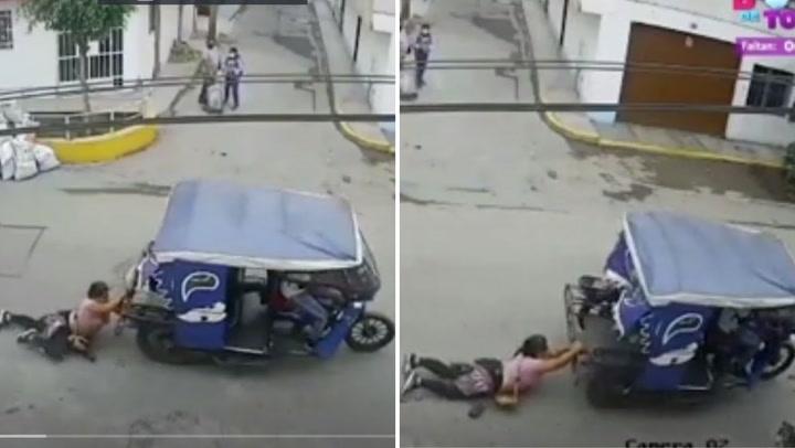 El Agustino: Delincuentes en mototaxi arrastran a mujer para robarle sus pertenencias