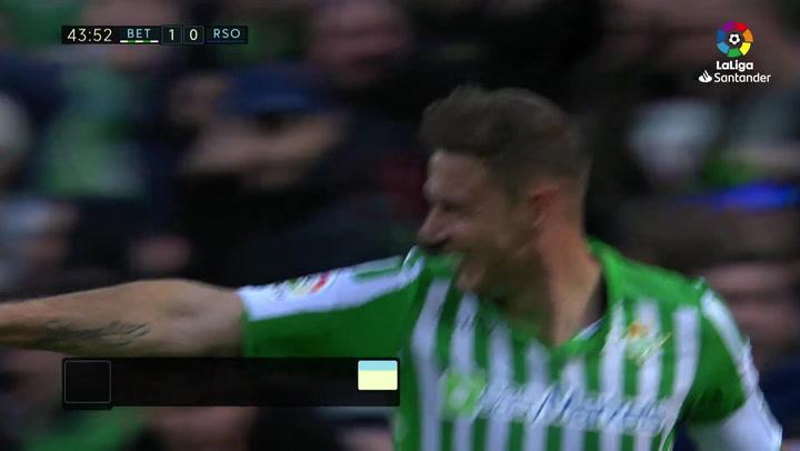 Gol de Joaquín (2-0) en el Betis 3-0 Real Sociedad