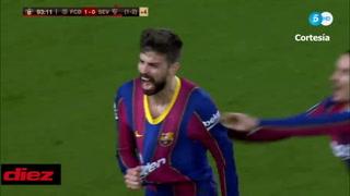 Piqué hace el 2-0 del Barcelona ante el Sevilla en el último minuto