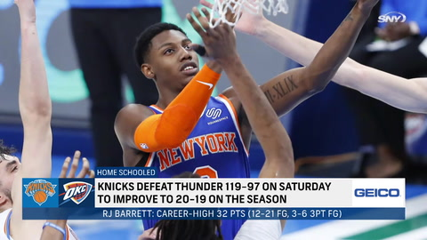 How important was RJ Barrett's career-high 32 points in Knicks' win?
