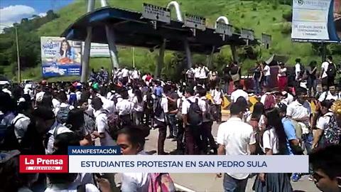 Estudiantes protestan en San Pedro Sula
