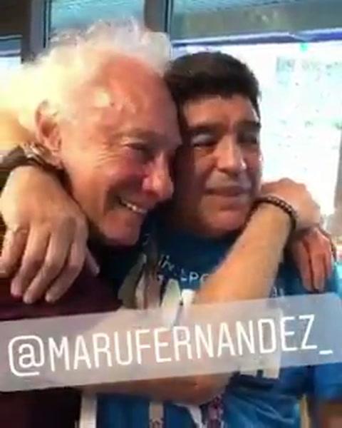 Maradona se amigó con Guillermo Coppola y selló el reencuentro con un abrazo