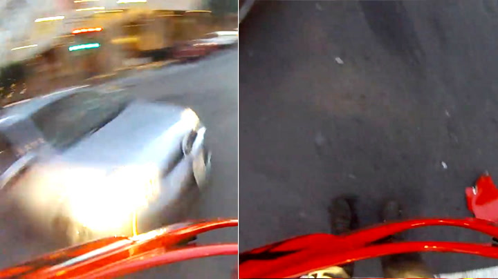Motorsyklist blir påkjørt, kastet opp i lufta – og lander på to bein