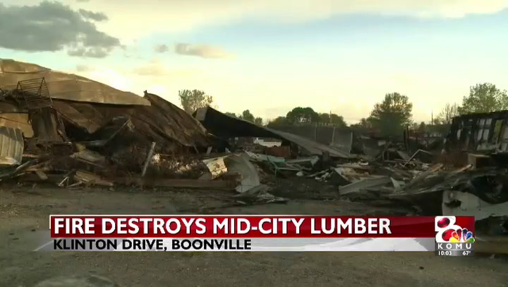 Fire destroys Mid-City Lumber in Boonville