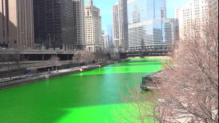Chicagoans surprised to see river dyed green after a year without the tradition