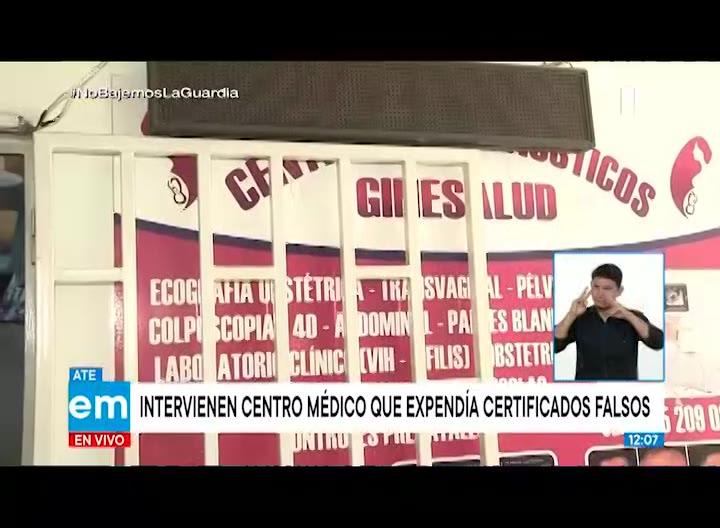 Ate: intervienen centro médico que emitía certificados falsos