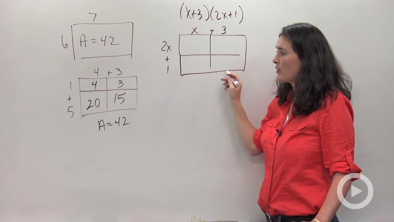 Multiplying Polynomials Using Area Models Concept Algebra Video