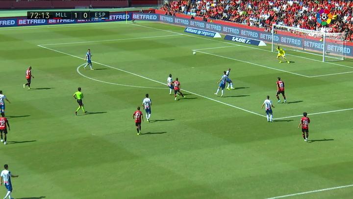 Gol de Salva Sevilla (2-0) en el Mallorca 2-0 Espanyol