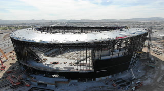 Allegiant Stadium raising roof cables and installing lanai doors – VIDEO