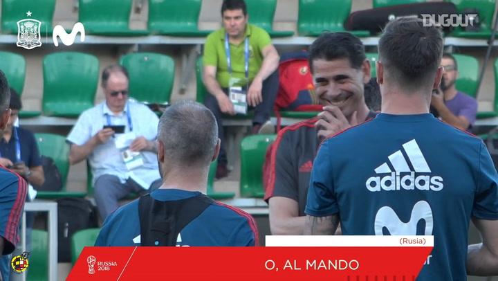 Fernando Hierro coaching Spain