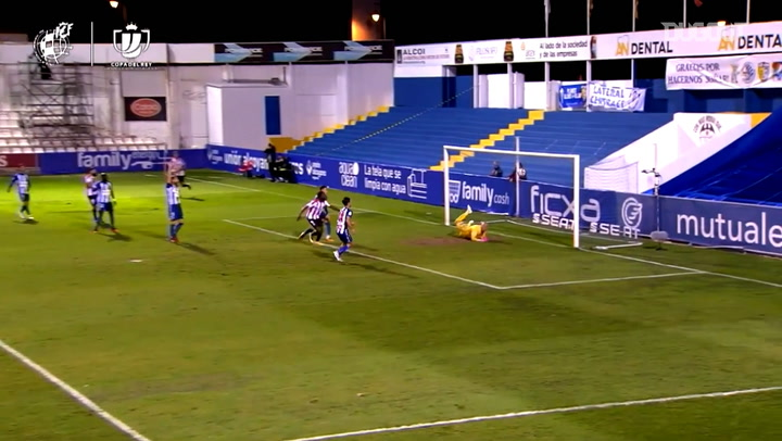 Alcoyano's keeper makes incredible save from Williams's header
