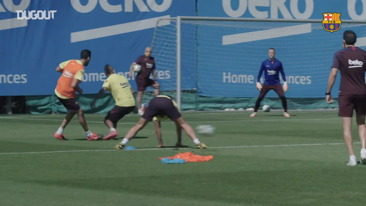 Messi shows determination in FC Barcelona training