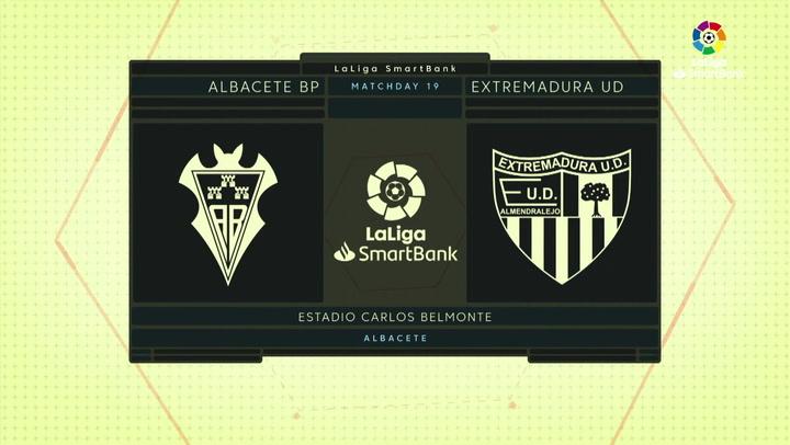 LaLiga SmartBank (J19): Resumen y goles del Albacete 1-1 Extremadura