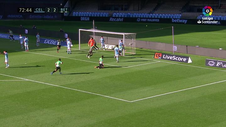 Gol de Víctor Ruiz (2-3) en el Celta 2-3 Betis