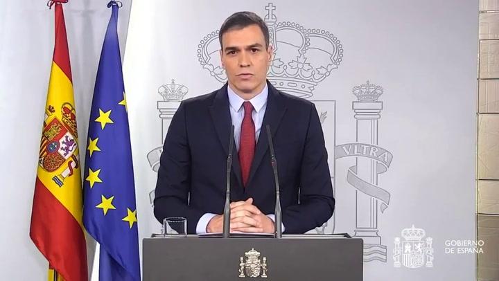 El presidente Pedro Sánchez declara el estado de alarma para España