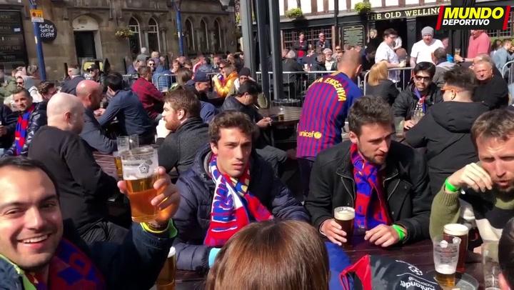 La afición del Barça en Manchester