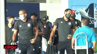 La polémica llegada de Olimpia a Tegucigalpa tras jugar en Surinám: En silencio y con Patón Mejía con una máscara de atracadores