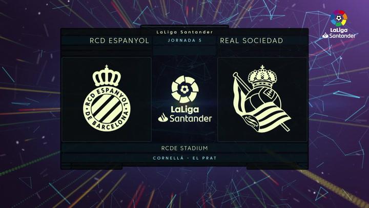 LaLiga Santander (J5): Resumen y goles del Espanyol 1-3 Real Sociedad