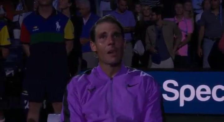 Así rompió a llorar Rafa Nadal al ver el vídeo de sus 19 títulos de Grand Slam
