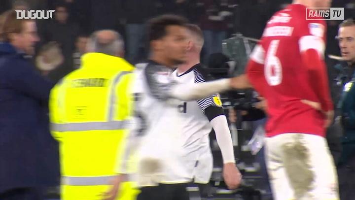 Wayne Rooney celebrates debut Derby County victory