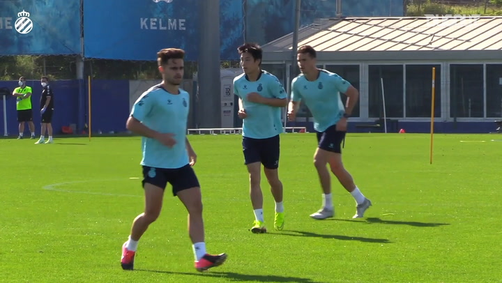 RCD Espanyol players train in small groups