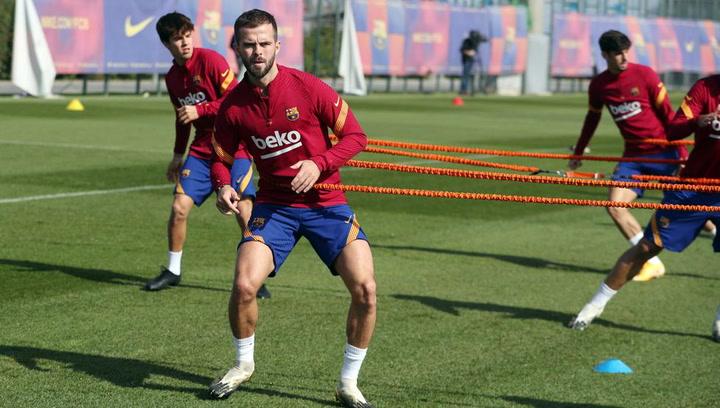 Entrenamiento del Barça previo al partido de Champions contra el Ferencvaros