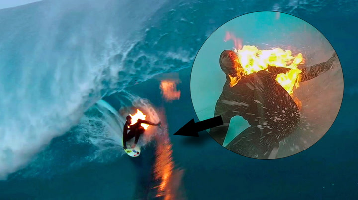 Surfer i fyr og flamme på «monsterbølge»