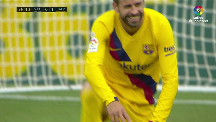 Piqué reclamó un penalti por agarron de Javi Sánchez