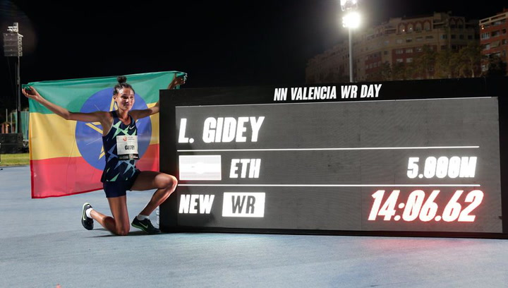 Letesenbet Gidey bate el récord mundial de 5.000 metros en Valencia
