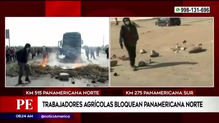 Paro Agrario en La Libertad: Trabajadores agrarios bloquean la Panamericana Norte en reclamo a mejores condiciones laborales
