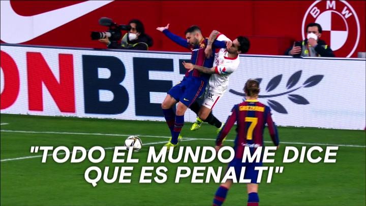 El Barça aviva la polémica del posible penalti sobre Alba