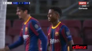 ¡Pero qué pase Frenkie... y qué gol de Ansu Fati! Barcelona doblega a Ferencváros al cierre del primer tiempo