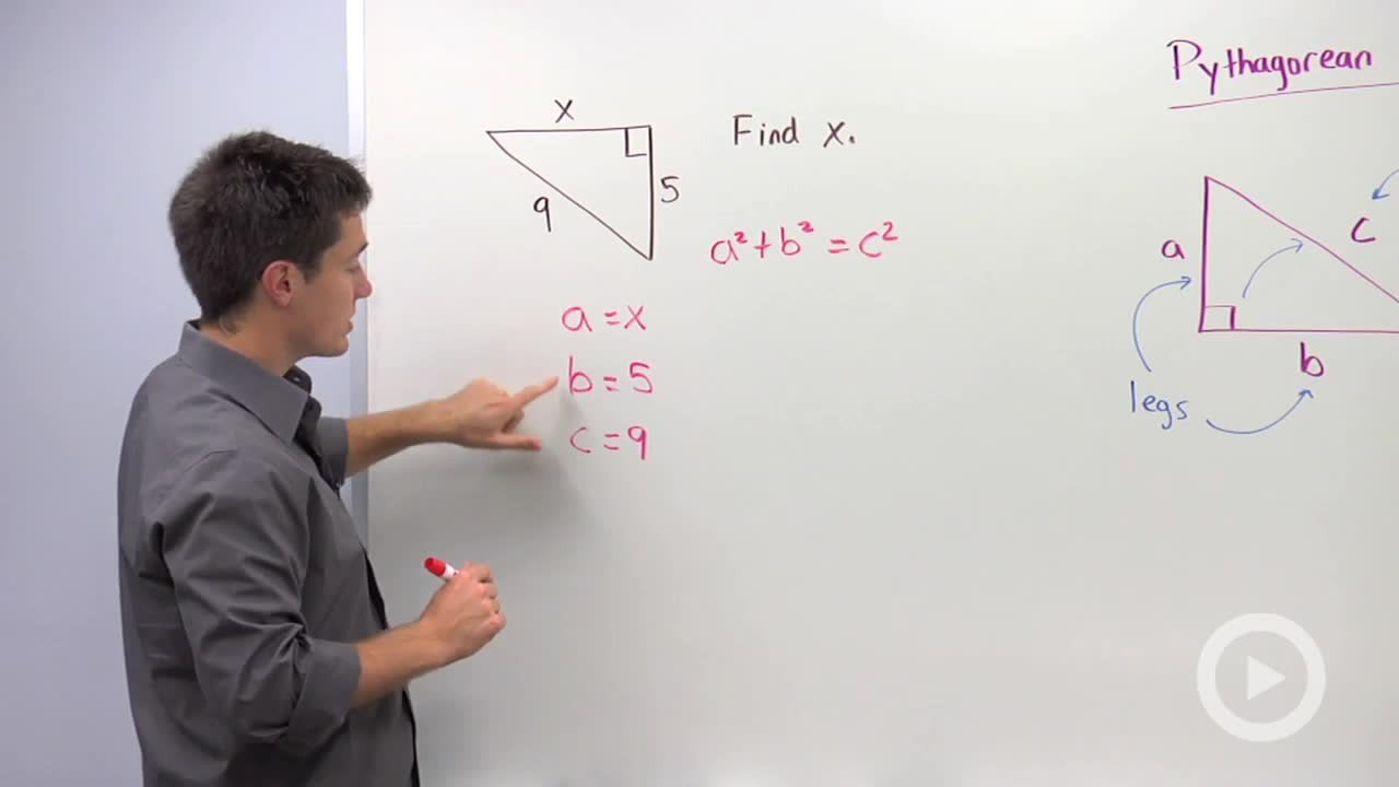 using the pythagorean theorem to a missing leg math videos problem 1 how to use the pythagorean theorem