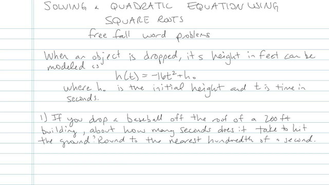 Solving Quadratic Equations Using Square Roots - Problem 10