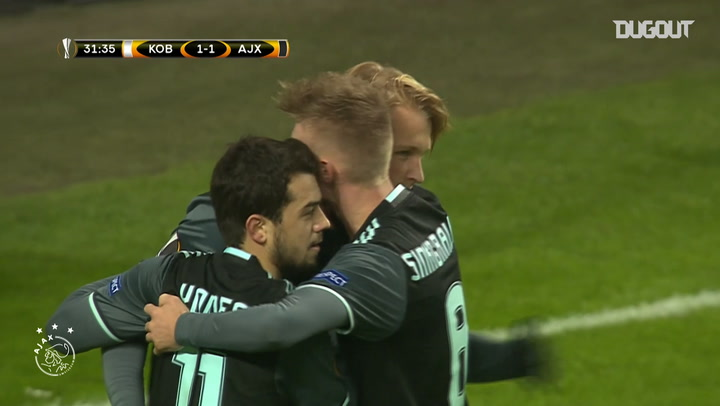 Kasper Dolberg's acrobatic finish vs FC Copenhagen