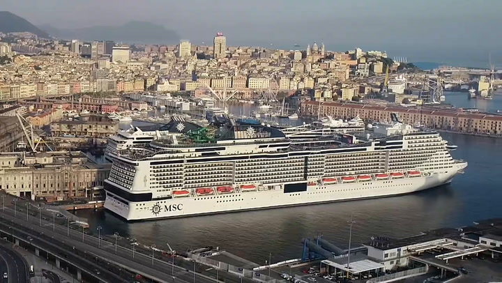 Drone Footage Of MSC Grandiosa Docked In Genoa For First Sailing Since The COVID-19 Pandemic