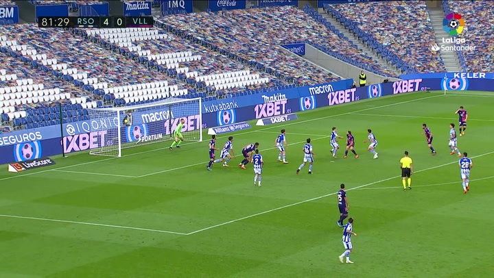 Gol de Marcos de Sousa (4-1) en el Real Sociedad 4-1 Valladolid
