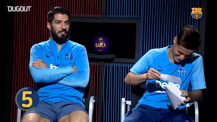 SUAREZ AND COUTINHO TEST THEIR LIVERPOOL KNOWLEDGE