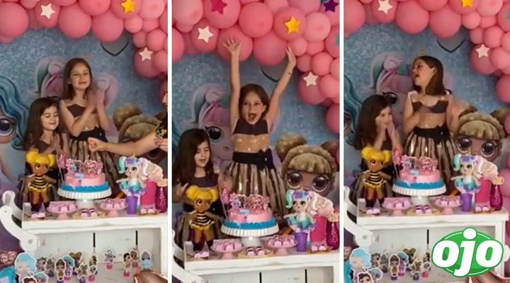 Niña que sopló vela de torta cumplió años y así reaccionó su hermana menor | VIDEO