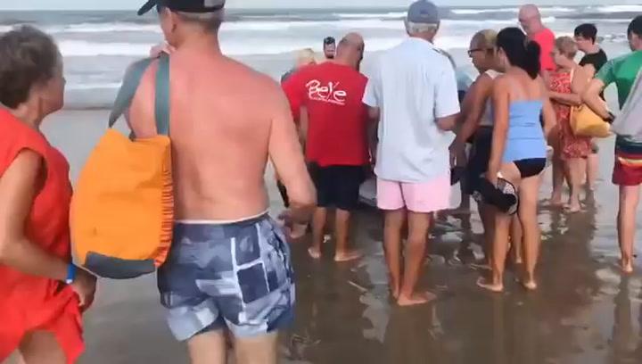 Un atún queda varado en una playa de La Manga y los transeúntes lo trocean