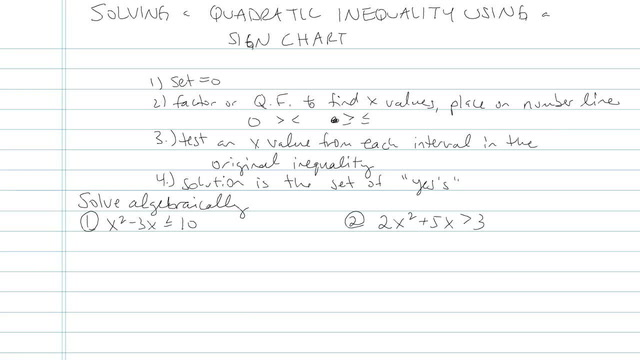 Solving a Quadratic Inequality using a Sign Chart - Problem 2
