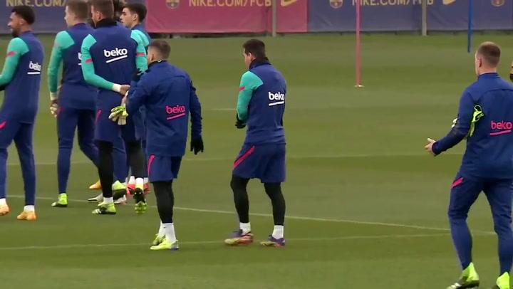 Messi, en el entrenamiento de ayer, previo al partido del Granada