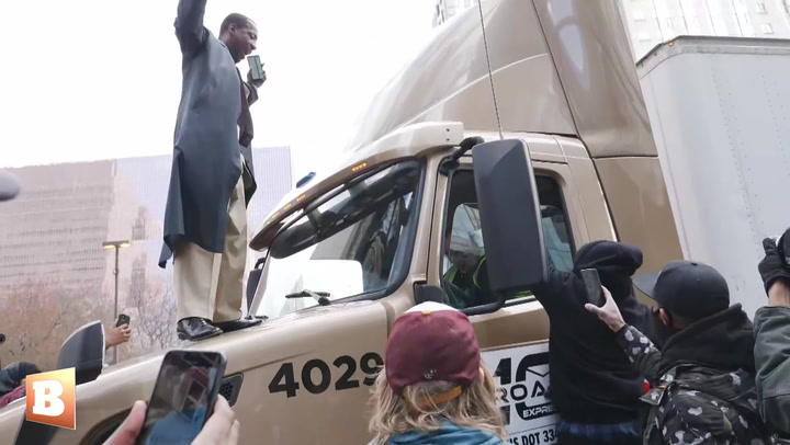 Minneapolis Protesters Climb On Tractor-Trailer Following Conviction of Derek Chauvin