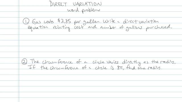 Direct Variation - Problem 3