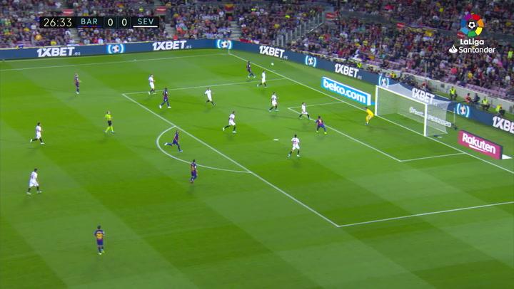 Gol de Luis Súárez (1-0) en el Barcelona 4-0 Sevilla