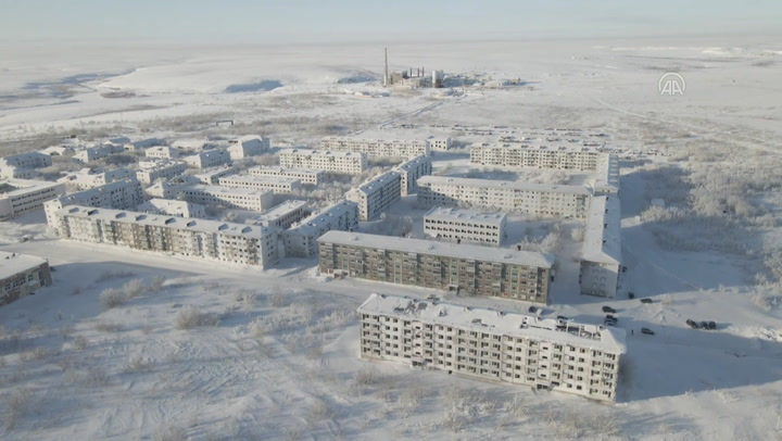 Snow covers Russian ghost town