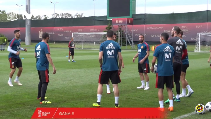 Spain's warm-up games in training